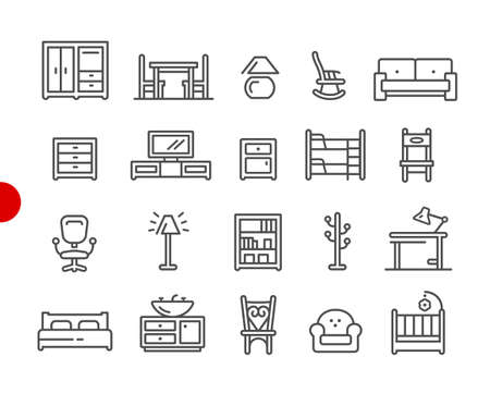 Furniture Icons // Red Point Series - Vector line icons for your digital or print projects.