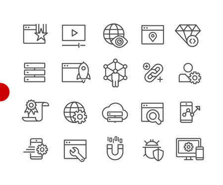 SEO & Digital Marketing Icons 2 of 2 // Red Point Series - Vector line icons for your digital or print projects. Ilustração