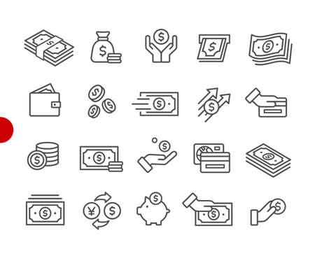 Money Icons // Red Point Series - Vector line icons for your digital or print projects. Ilustração