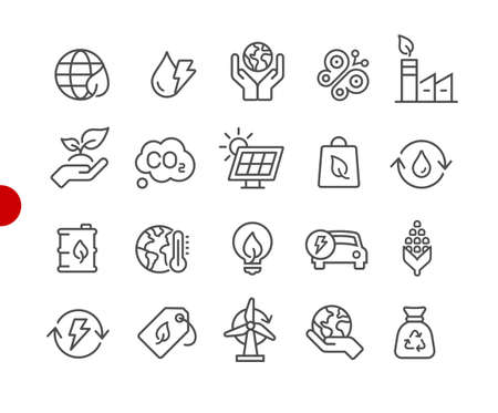 Ecology & Renewable Energy Icons // Red Point Series - Vector line icons for your digital or print projects.