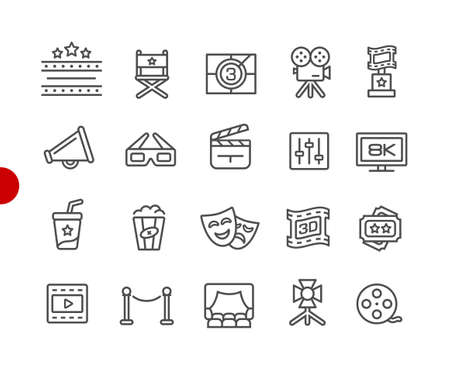 Film Industry and Theater Icons // Red Point Series - Vector line icons for your digital or print projects.