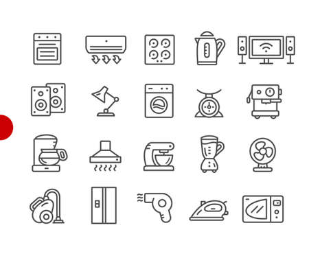 Household Appliances Icons // Red Point Series - Vector line icons for your digital or print projects. Ilustração