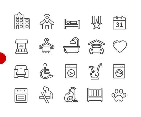 Hotel & Rentals Icons 2 of 2 // Red Point Series - Vector line icons for your digital or print projects. Ilustração