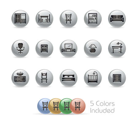 Furniture Icons // Metal Round Series - The vector file includes 5 color versions for each icon in different layers.