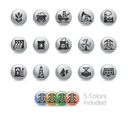 Energy Icons  Metal Round Series - The vector file includes 5 color versions for each icon in different layers. Ilustração