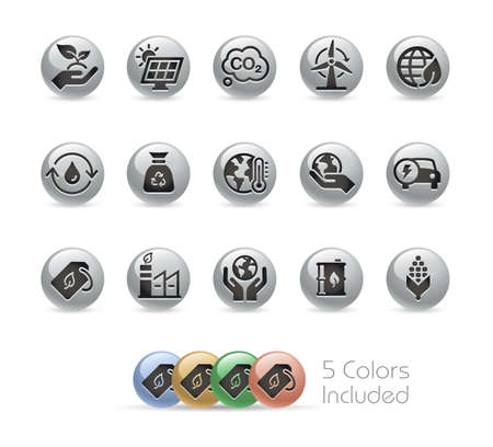 Ecology and Renewable Energy Icons  Metal Round Series - The vector file includes 5 color versions for each icon in different layers. Illusztráció