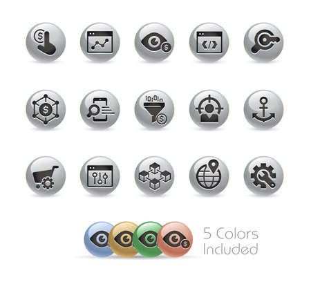 SEO and Digital Marketing Icons 1 of 2  Metal Round Series - The vector file includes 5 color versions for each icon in different layers. Ilustração