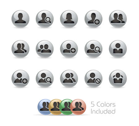 Avatar Icons // Metal Round Series - The vector file includes 5 color versions for each icon in different layers.