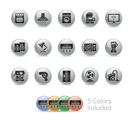 Household Appliances Icons // Metal Round Series - The vector file includes 5 color versions for each icon in different layers. Ilustração