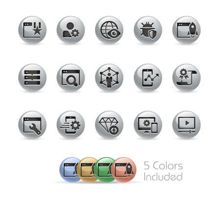 SEO and Digital Marketing Icons 2 of 2 Metal Round Series - The vector file includes 5 color versions for each icon in different layers.