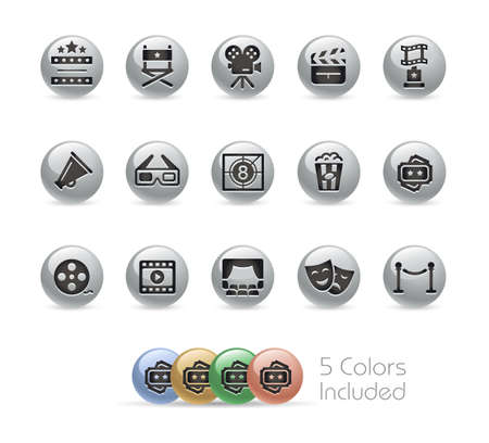 Film Industry and cinema Icons  Metal Round Series - The vector file includes 5 color versions for each icon in different layers.