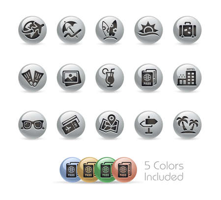 Summer Vacations Icons  Metal Round Series - The vector file includes 5 color versions for each icon in different layers.