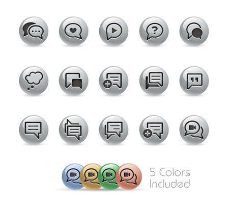 Bubble Icons // Metal Round Series - The vector file includes 5 color versions for each icon in different layers.