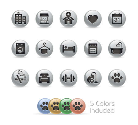 Hotel and Rentals Icons 2 of 2  Metal Round Series - The vector file includes 5 color versions for each icon in different layers. Ilustração