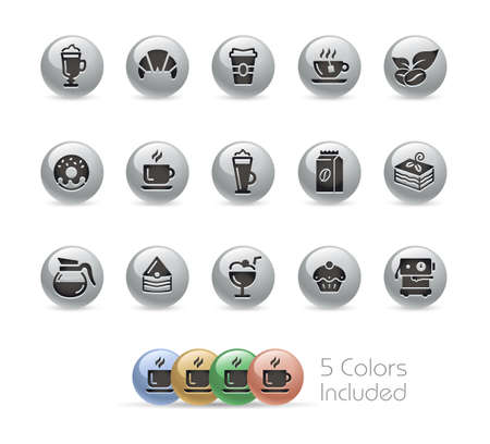Coffee Shop Icons  Metal Round Series - The vector file includes 5 color versions for each icon in different layers.