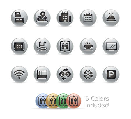 Hotel and Rentals Icons 1 of 2  Metal Round Series - The vector file includes 5 color versions for each icon in different layers.
