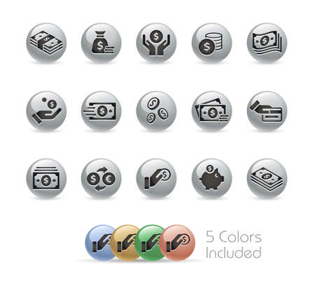 Money Icons Metal Round Series - The vector file includes 5 color versions for each icon in different layers. Ilustração