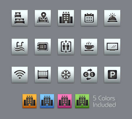 Hotel and Rentals Icons 1 of 2 // Satinbox Series - The vector file includes 5 color versions for each icon in different layers. Stock Illustratie