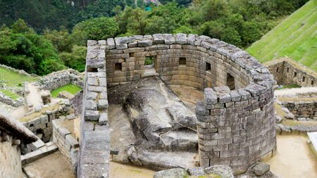 Temple of the Sun, in the city of Machu Picchu, Cusco Peru