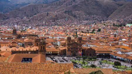 Panoramic view of the central square of Cusco in the center of Cusco Peru