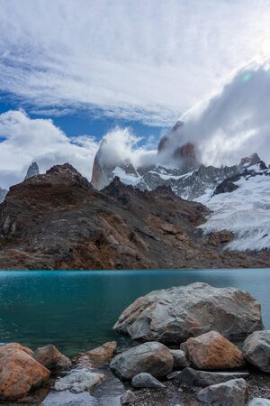 Landscape of the Laguna de los Tres in Chatel Argentina, tourism in Patagonia Fitz Roy 版權商用圖片