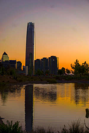 Vertical View of the financial center of Santiago de Chile