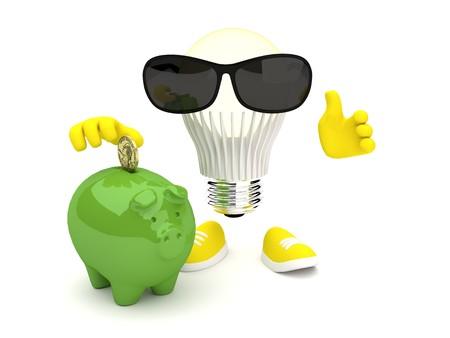 Led Lamp gloeit geel met varken en zonnebril Stockfoto