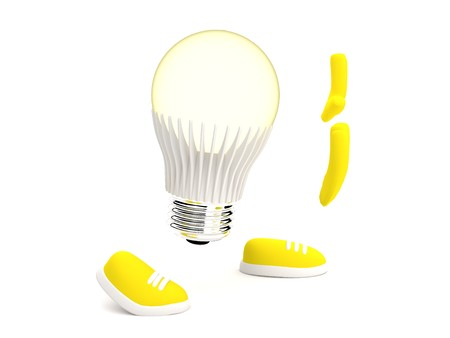 monocrystalline: Led Lamp glows yellow pushing