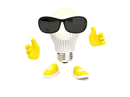 monocrystalline: Bright Led Lamp glows yellow with sunglasses