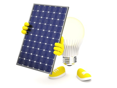 monocrystalline: Led Lamp glows yellow with PV panel Stock Photo