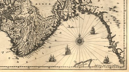 ancient ships: Ancient map of a southern part of Norway (1630)  Stock Photo