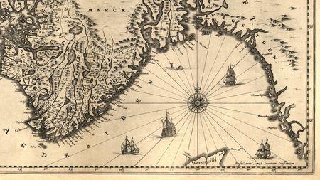 vikingo: Antiguo mapa de una parte del sur de Noruega (1630)