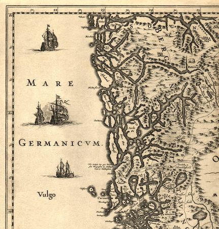 Ancient map of a southern part of Norway (1630)  Stock Photo