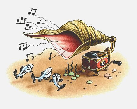 The underwater gramophone plays music for fishes.