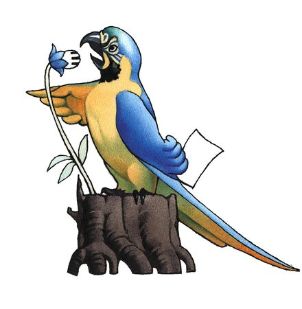 The scientist ara (macaw) delivers a speech in a microphone