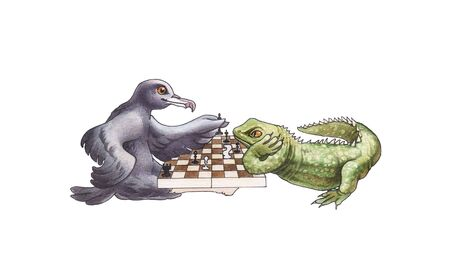 The bird and lizard play chess