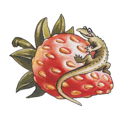 The lizard sits on a strawberry berry