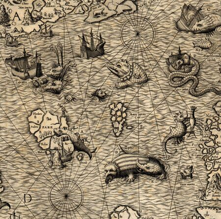 Antique map of Northen Sea (1572)