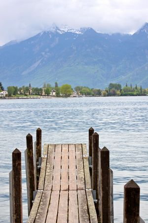 Planked footway on mountain lake in Swiss