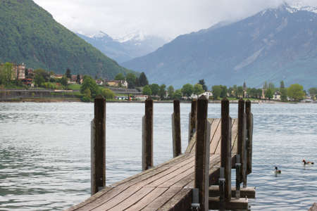 footway: Planked footway on mountain lake in Swiss