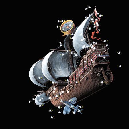 Constellations The Keel of the Ship Argo (Carina), The Stern of the ship Argo (Puppis), The Compass Box (Pyxis), The Sail of the ship Argo (Vela) The Flying Fish (Volans, Piscis Volans)  Stock Photo
