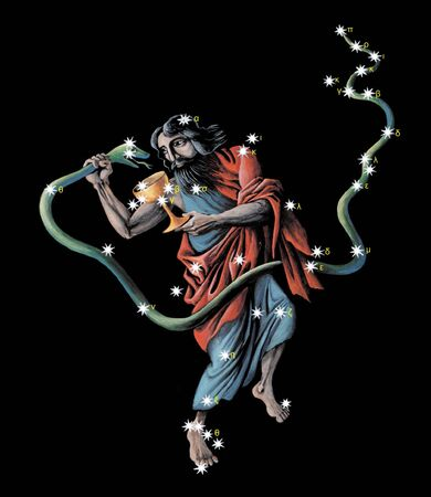 Sign on zodiac constellation The Ophiuchus (Serpentarius)