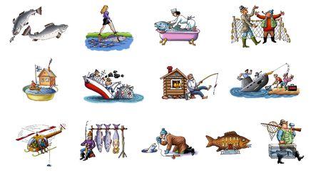 Cartoon about fishing  Stock Photo