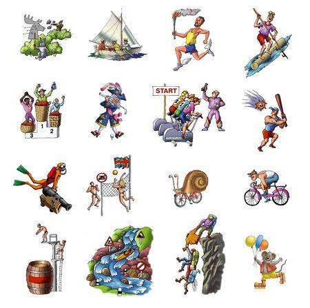 Dibujos animados sobre el deporte diversos  Foto de archivo - 7798636