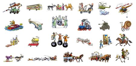 The various transport (car, horse, helicopter, train, airplane, bus...)