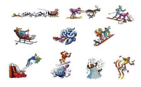 Cartoon about winter sport
