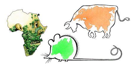 monta�as caricatura: Africa Australia Eurasia continent contour map Foto de archivo