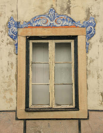 The window of the old building in Lissabon  Portugal