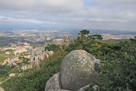 moors: Castle of the Moors  Sintra, Lisbon, Portugal  Stock Photo
