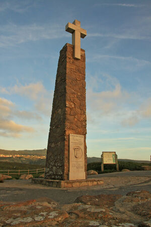 Stele in the most west point of the Europe  Cabo da Roca, Portugal  Stock Photo